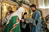 В канун праздника Сретения Господня Святейший Патриарх Кирилл совершил всенощное бдение в Сретенском ставропигиальном монастыре