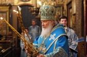 """De sărbătoarea Întâmpinării Domnului Sanctitatea Sa Patriarhul Chiril a săvârșit Dumnezeiasca Liturghie în catedrala """"Adormirea Maicii Domnului"""" din Kremlin, or. Moscova"""