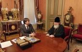 Святейший Патриарх Кирилл встретился с руководителем Федеральной службы по надзору в сфере образования и науки С.С. Кравцовым