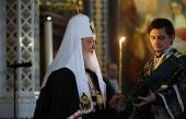 Святейший Патриарх Кирилл совершил вечерню с чином прощения в Храме Христа Спасителя в Москве