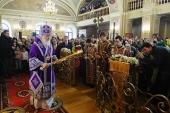 В субботу первой седмицы Великого поста Святейший Патриарх Кирилл совершил Литургию в Троице-Одигитриевском ставропигиальном монастыре Зосимова пустынь