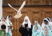 В праздник Благовещения Пресвятой Богородицы Святейший Патриарх Кирилл совершил Литургию в Благовещенском соборе Московского Кремля