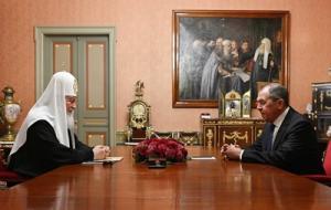 Состоялась встреча Святейшего Патриарха Кирилла с министром иностранных дел РФ С.В. Лавровым