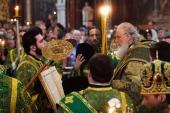 В канун празднования Входа Господня в Иерусалим Святейший Патриарх Кирилл совершил всенощное бдение в Храме Христа Спасителя