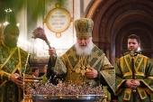 В канун Вербного воскресенья Святейший Патриарх Кирилл совершил всенощное бдение в Храме Христа Спасителя