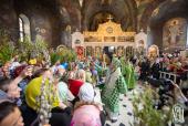В Вербное воскресенье Блаженнейший митрополит Киевский Онуфрий возглавил праздничное богослужение в Киево-Печерской лавре