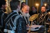 В канун вторника Страстной седмицы Святейший Патриарх Кирилл принял участие в вечернем богослужении в Иоанно-Предтеченском ставропигиальном монастыре