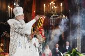 В праздник Светлого Христова Воскресения Предстоятель Русской Церкви возглавил торжественное богослужение в Храме Христа Спасителя в Москве