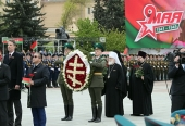 Патриарший экзарх всея Беларуси принял участие в торжествах, посвященных 74-летию Победы в Великой Отечественной войне