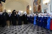 Святейший Патриарх Кирилл посетил Свято-Владимирскую школу и Центр помощи молодым мамам при Воскресенском Новодевичьем монастыре