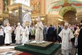 В канун праздника Вознесения Господня Святейший Патриарх Кирилл совершил всенощное бдение в кафедральном соборе Христа Спасителя в Калининграде