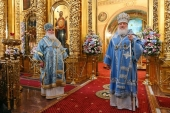 В канун праздника Казанской иконы Божией Матери Предстоятель Русской Церкви совершил всенощное бдение в Богоявленском кафедральном соборе г. Москвы