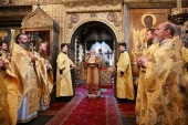 В день памяти святого равноапостольного князя Владимира Предстоятель Русской Церкви совершил Литургию в Успенском соборе Московского Кремля