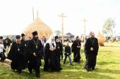Святейший Патриарх Кирилл осмотрел деревянные храмы в деревнях Ворзогоры и Подпорожье Архангельской области