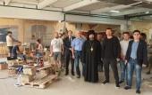 Епископ Клинский Стефан совершил благодарственный молебен в мастерских по изготовлению мозаик главного храма Вооруженных сил РФ