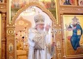 В Неделю 13-ю по Пятидесятнице Святейший Патриарх Кирилл совершил Литургию в московском храме равноапостольной княгини Ольги в Останкине
