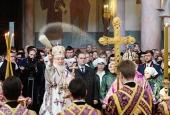 В праздник Воздвижения Честного и Животворящего Креста Господня Святейший Патриарх Кирилл освятил Софийский собор в Самаре