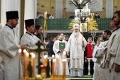 De ziua aniversării a 90 de ani de la nașterea mitropolitului Nicodim (Rotov) Sanctitatea Sa Patriarhul Chiril a săvârșit Dumnezeiasca Liturghie în Lavra Sfântului Alexandru Nevski