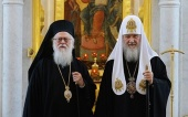 His Holiness Patriarch Kirill greets Primate of Albanian Orthodox Church with his 90th birthday
