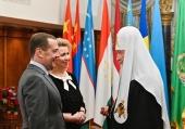 Председатель Правительства РФ Д.А. Медведев поздравил Святейшего Патриарха Кирилла с днем рождения