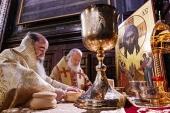 Предстоятели Иерусалимской и Русской Православных Церквей совершили Литургию в Храме Христа Спасителя