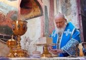В праздник Введения во храм Пресвятой Богородицы Святейший Патриарх Кирилл совершил Литургию в Успенском соборе Московского Кремля