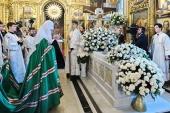 В одиннадцатую годовщину со дня кончины Святейшего Патриарха Алексия II Предстоятель Русской Церкви совершил заупокойное богослужение в Богоявленском соборе г. Москвы