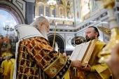 В канун дня памяти святителя Николая Чудотворца Предстоятель Русской Церкви совершил всенощное бдение в Храме Христа Спасителя