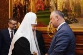 Συνάντηση του Αγιωτάτου Πατριάρχη Κυρίλλου με τον Πρόεδρο της Δημοκρατίας της Μολδαβίας Ι. Ντοντόν