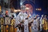 В праздник Рождества Христова Предстоятель Русской Церкви совершил великую вечерню в Храме Христа Спасителя