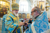 В праздник Сретения Господня Патриарший экзарх всея Беларуси совершил Литургию в Свято-Духовом соборе Минска