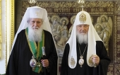 His Holiness Patriarch Kirill greets Primate of Bulgarian Orthodox Church