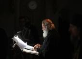 В понедельник первой седмицы Великого поста Святейший Патриарх Кирилл молился за уставным богослужением в Сретенском ставропигиальном монастыре