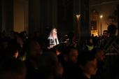 В среду первой седмицы Великого поста Святейший Патриарх Кирилл совершил повечерие с чтением Великого канона прп. Андрея Критского в Даниловом ставропигиальном монастыре