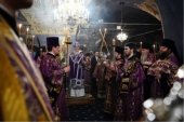 В канун субботы первой седмицы Великого поста Святейший Патриарх Кирилл совершил утреню в Новоспасском ставропигиальном монастыре