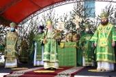 В праздник Святой Троицы Патриарший наместник Московской епархии совершил Литургию на Соборной площади подмосковной Коломны