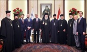 Patriarch of Antioch meets with representative of Russian Orthodox Church and ambassador of Russian Federation