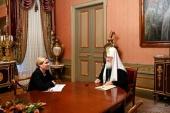 Состоялась встреча Предстоятеля Русской Церкви с министром культуры О.Б. Любимовой