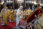 On commemoration day of Great Prince Vladimir Equal to the Apostles, Primate of Russian Orthodox Church celebrated liturgy at Church of Christ the Saviour