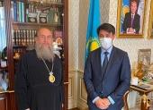Состоялась встреча главы Казахстанского митрополичьего округа с новоназначенным руководителем Управления по делам религий города Алма-Аты