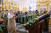 В канун дня памяти преподобных Зосимы, Савватия и Германа Соловецких Святейший Патриарх Кирилл совершил всенощное бдение в Соловецком монастыре