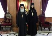 Блаженнейший Патриарх Иерусалимский Феофил принял настоятельницу Горненского монастыря игумению Екатерину (Чернышеву)