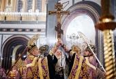 В канун праздника Воздвижения Креста Господня Святейший Патриарх Кирилл совершил всенощное бдение в Храме Христа Спасителя
