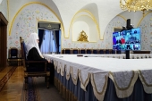 His Holiness Patriarch Kirill takes part in a talk of Russian President Vladimir Putting with leaders of religious association in Russia