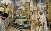 В годовщину кончины Святейшего Патриарха Алексия II председатель Синодального отдела по монастырям и монашеству совершил Литургию в Богоявленском соборе в Елохове