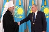 Первому Президенту Казахстана Н.А. Назарбаеву вручена высшая награда Казахстанского митрополичьего округа — орден «Алғыс» («Благодарность»)