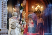 """De sărbătoarea Nașterii Domnului Întâistătătorul Bisericii Ortodoxe Ruse a săvârșit Dumnezieasca Liturghie în Catedrala """"Hristos Mântuitorul"""""""