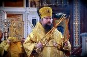 Великую вечерню в праздник Рождества Христова в Храме Христа Спасителя в Москве совершил митрополит Воскресенский Дионисий