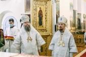 В день памяти первомученика Стефана Патриарший экзарх всея Беларуси совершил Литургию в Успенском соборе Жировичского монастыря