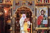 В Неделю 34-ю по Пятидесятнице Святейший Патриарх Кирилл совершил Литургию в Александро-Невском скиту